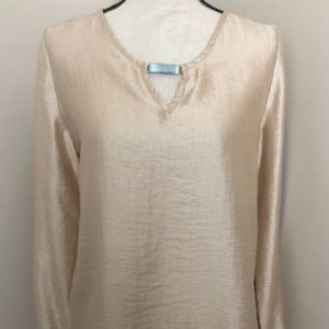 Chicos Shimmering Gold Top Tunic Long Sleeve Size